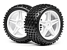 1/10 Buggy White Rear Wheel &amp; Tyre Std.  Assembly