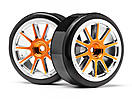 GOLD CHROME 10 SPOKE WHEELS WITH DRIFT TYRES (2PCS) (STRADA EVO DC)